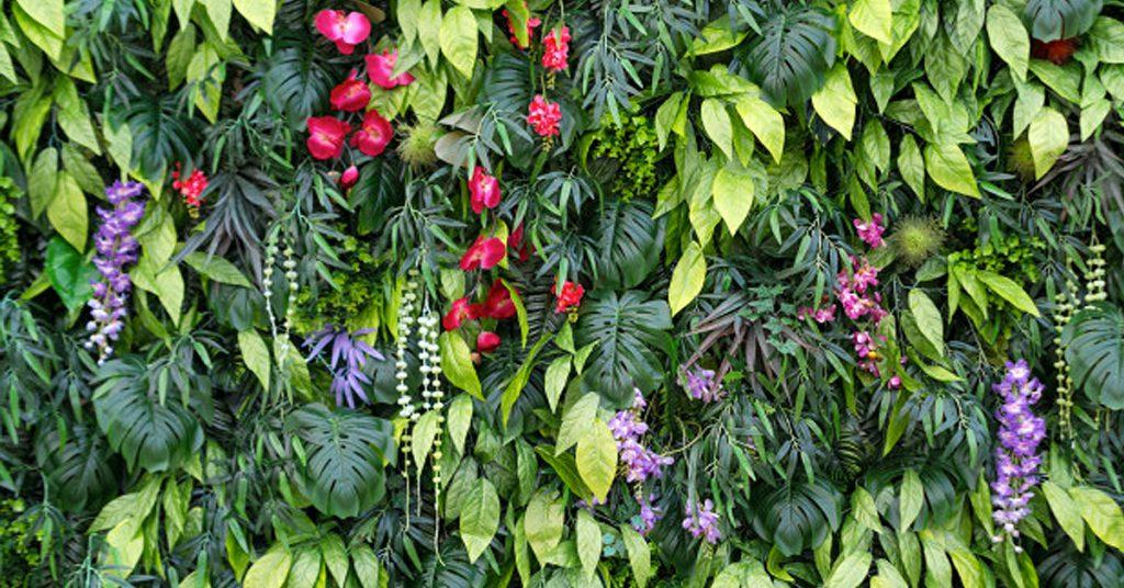 Jardín vertical de palets y macetas